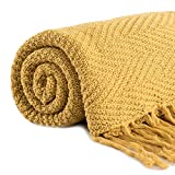 Revdomfly 100% Cotton Mustard Throw Blanket Textured Knitted Throw Blanket with Fringe Tassels for Bed Sofa Couch, Super Soft Cozy Warm, 51.2' x 67', Mustard Yellow