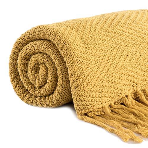 Revdomfly - Coperta in 100% cotone lavorata a maglia con frange nappe per letto, divano, super morbida e calda, 152 x 67 cm 51.2' x 67' giallo senape.