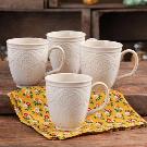 The Pioneer Woman Farmhouse Lace Mug Set, 4-Pack - Walmart.com
