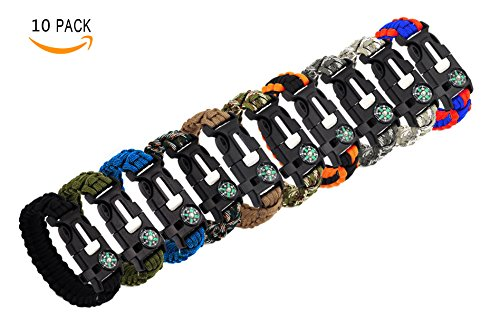 Bestsupplier 10 Pack Paracord Bracelet Kit Outdoor Survival Bracelet Camping Hiking Gear with Compass, Fire Starter, Whistle And Emergency Knife