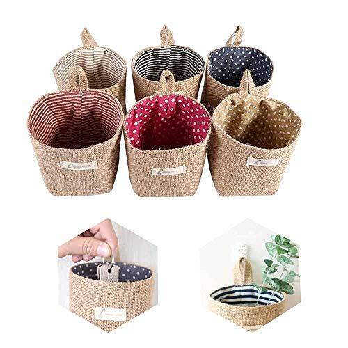 Lifreer - Cestas de almacenaje, 6 unidades, de algodón y lino, plegables, pequeñas, cestas con mango, para juguetes, maquillaje, artículos pequeños