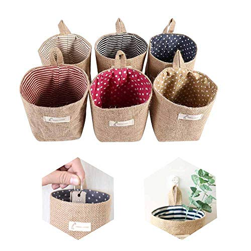 Lifreer cestas de almacenamiento, 6 unidades, de algodón y lino, plegables, pequeñas cestas con asa, cajas de almacenamiento para juguetes de maquillaje, llaves pequeñas cosas