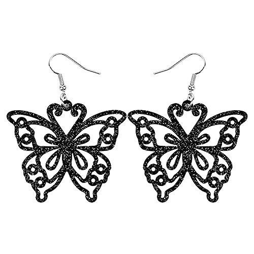 XAOQW Acrilico Grande Vuoto Farfalla Pendente Orecchini Altalena Decorazione Insetto Gioielli Ragazza Ragazza Fascino Festa Regalo Accessori-Scuro