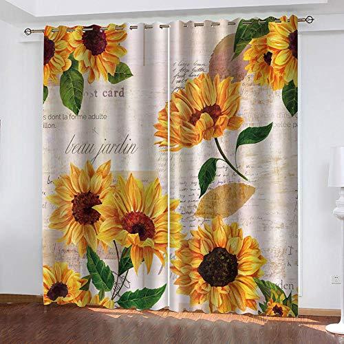 Bbaodan 3D Cortinas Opacas de Ojales, 2 Panel con Térmicas Aislantes Insonorizantes para salón Dormitorio y habitación Ventanas Amarillo y Girasol L117cmxH229cm