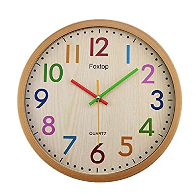 Foxtop Silent Kids Wall Clock 12 Inch Non-Ticking Battery Operated Colorful Decorative Clock for Children Nursery Room Bedroom School Classroom - Easy to Read