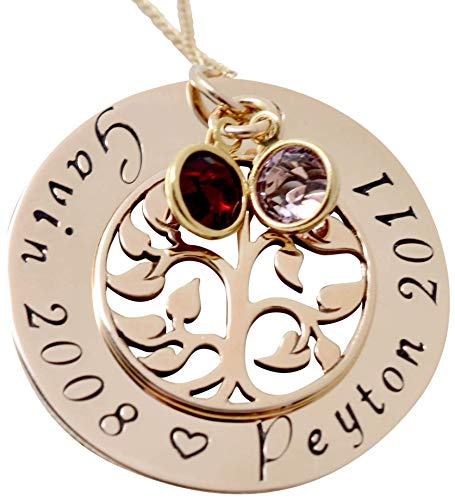 Mother's Day Personalized Family Tree Name Necklace with Birthstones Gift for Mom Grandma from Daughter Son Grandchildren