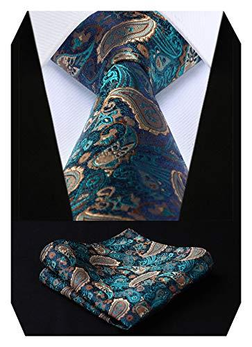 HISDERN Herren Krawatte Blume Paisleyn Hochzeit Krawatte & Einstecktuch Set