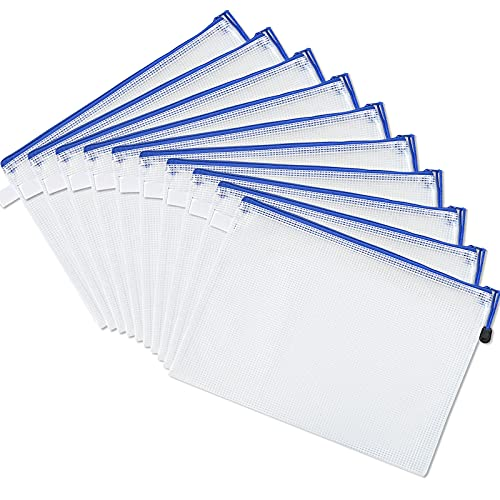 10 Pack Dokumententasche Größe A4, Wasserdicht Mesh Zipper Taschen, Kunststoff Reißverschlusstasche, für Datei, Papier, Dokumente, Kosmetika, Hausaufgaben und Reiseutensilie