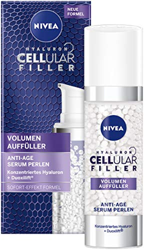 NIVEA Hyaluron Cellular Filler Anti-Age Serum Perlen (30 ml), Volumen auffüllendes Anti-Falten Serum, aufpolsterndes Gesichtsserum mit Hyaluronsäure und Kollagen