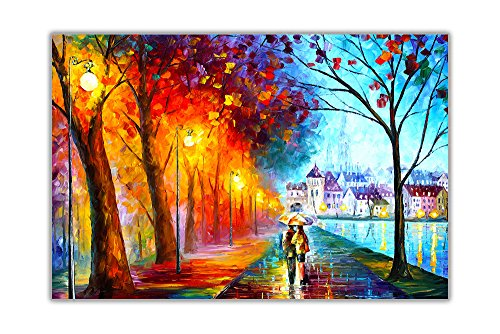 AT54378D Poster / Kunstdruck, Motiv: Stadt am See von Leonid Afremov, Nachdruck, Wanddekoration, Größe A1 (59,4 x 84,1 cm)