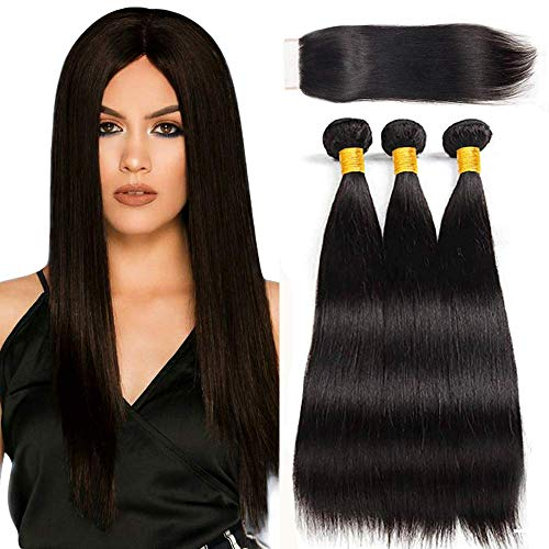 LVY Echte haare Human Hair Bundles with Closure Brazilian Hair 3 Bundles with Closure Brazilian Straight Human Hair Weave 18 18 18+16 Inch