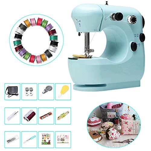 WANGXL naaimachine voor beginners, draagbare elektrische naaimachine voor het naaien van beginners, met naaigereedschapsset, 20 kleuren naaimachine speciale spoel