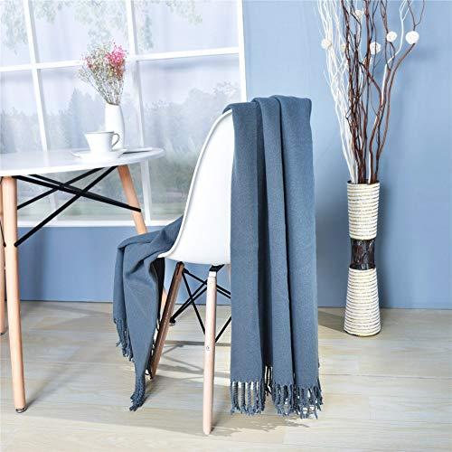 Manta Individual Decorativa Silla Home Accent Multifunción Mantas Cama Para Sofás Con Taslas Hechas A Mano,Azul