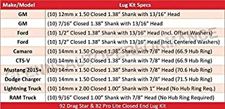 Race Star Industries 601-1432-10 Lug Kit-10 PK (14mmx1.5 1.38in. Shank with 7/8in. Head Dodge Charger Closed End)