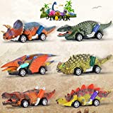 Dinosaur Toys for Kids 3-5 - Pull Back Toy Cars for Toddler 2 3 4 5 6 Years Old and Up, Christmas & Birthday Gifts for Boys Girls, Perfect for Dinosaur Party Favors - 6 Pack with T-Rex