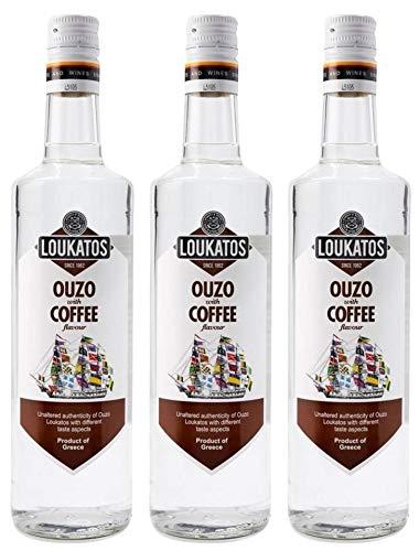 3x 0,7l Loukatos Ouzo mit Kaffeegeschmack | 38% Vol. | + 1x20ml ElaioGi Olivenöl