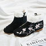 RHH Shop Flor Bordado Botines Botines Planos Botas De Tobillo Cómodo Invierno Botas Negras con Zapatos De Gran Tamaño (Color : Model 1, Size : 37 EU)
