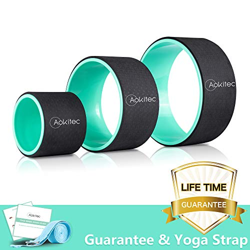 Aokitec Yoga Wheel Set 3 Pack Yoga Roller Set Strongest & Most Comfortable Dharma Yoga Prop Wheel Set of 3 for Back Pain and Stretching (12, 10, 6 inch), Green