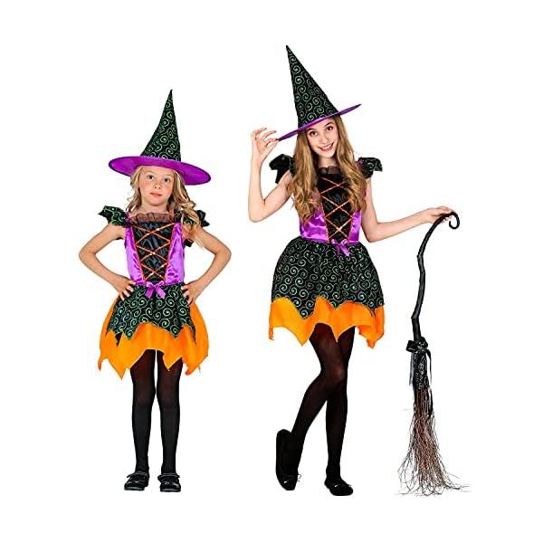 WIDMANN - Disfraz infantil de bruja de 2 piezas, vestido y sombrero, multicolor, cuentos de hadas, disfraces, fiestas…