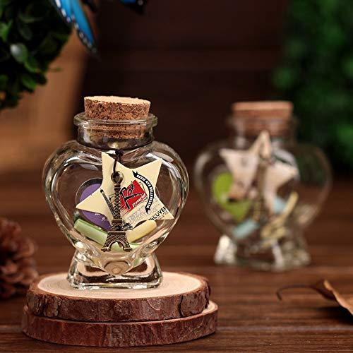 Hengxiangyuan - Lote de 2 mini botellas de felicitación, botella de cristal de sohete, botella de regalo con tapón de corcho, bonito mini corazones, para decoración de bricolaje