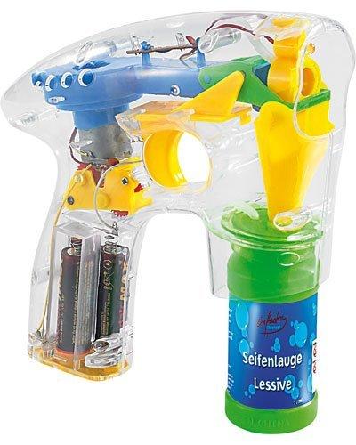 infactory Luftblasen Pistole: Seifenblasenpistole mit LEDs inkl. 2X Seifenblasenlösung (Seifenblasenpistole Hochzeit)