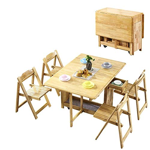 N/Z Daily Equipment 1.3M Dining Table Set Folding Drop Leaf Butterfly Solid Wooden Kitchen Furniture Natural Pine 4 Chairs Folding Table (Color : Black+White)