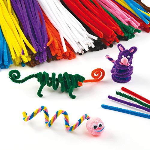 Baker Ross EV6832 Fluffy Soft Pipe Cleaners, Value Pack of Craft Supplies for Kids (Pack of 120), Assorted, 30cm