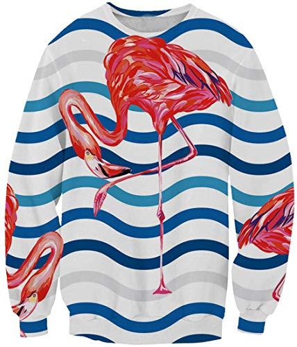 Ocean Plus Sudadera para niña con cuello redondo con impresión digital, sin capucha, para niños y niñas Welliger Flamingo 11-12 Años