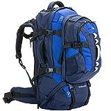skandika Waterloo 65+15 Liter Rucksack mit abnehmbarem Daypack und integrierter Regenhülle (blau)