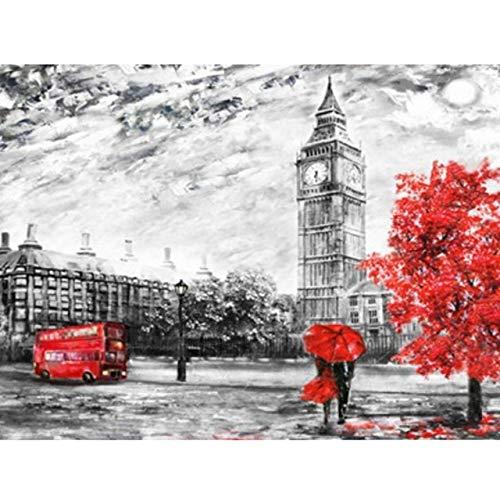 DFKJ 5D DIY Diamantmalerei Landschaft Paris Tower Kreuzstich Vollbohrer Runde Stickerei Mosaik Bild von Strass A1 30x40cm