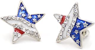 FOTTCZ American Flag Stud Earrings, Five-Pointed Star Imitation Diamond Earrings, Miniature American Flag Stud Earrings
