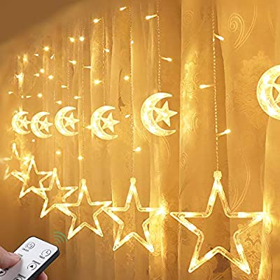 Quntis LED Star Curtain Lights Connectable 2M Warm White 12 Stars 138 LEDs Window Icicle Decor Lights for Home Garden Holiday Wedding Christmas Party Backdrops