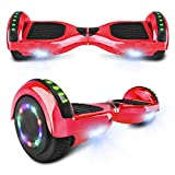 cho Electric Hoverboard Smart Self Balancing Scooter Hover Board Built-in Speaker LED Wheels Side Lights for Kids- Safety Certified (Chrome Red)