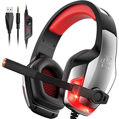 Hunterspider PS4 Headset V-4 Gaming Headset Xbox one Headset Gaming Headphone with Surround Sound, RGB LED Light & Noise Canceling Microphone for PS4,Gamecube,Xbox One(Adapter Not Included) Accessories Box Dreamcast GEM Headsets Sega