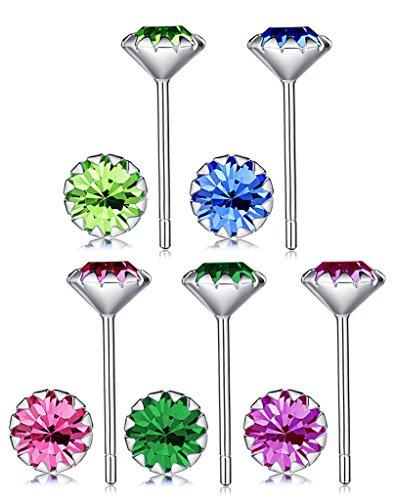 Yumilok 5 Paare 925 Sterling Silber 5mm Bunt Zirkonia Ohrstecker Set Stecker Ohrringe Ohrschmuck für Damen Frauen Mädchen
