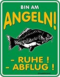 Trendagentur KEPPLINGER Original Rahmenlos Blechschild für den Angler: Bin am Angeln! Ruhe! Abflug!