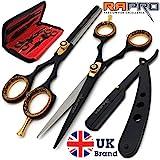 RAPRO RP-SS-01 - Tijeras profesionales para peluquería incluye tijeras de peluquería, tijeras de entresacar, maquinilla de afeitar con peine para el pelo y estuche tijeras
