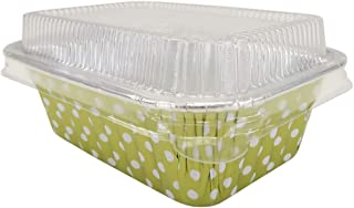 KitchenDance Disposable Aluminum Mini 6 Ounce Individual Sized Loaf Pans #4004 Color & Lid Options (Gold Polka Dot- with Lids, 50)