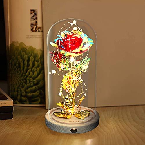 E-MANIS Schönheit und das Biest Rose,Rotgoldfolienrose in der Glaskuppel 2 Lichtmodi mit Goldperlen in Holzbasis für Geschenk Weihnachten,Valentinstag und andere Festivals Romantische Wahl