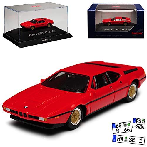 B-M-W M1 Coupe Rot 1978-1981 H0 mit Sockel und Vitrine 1/87 Herpa Modell Auto