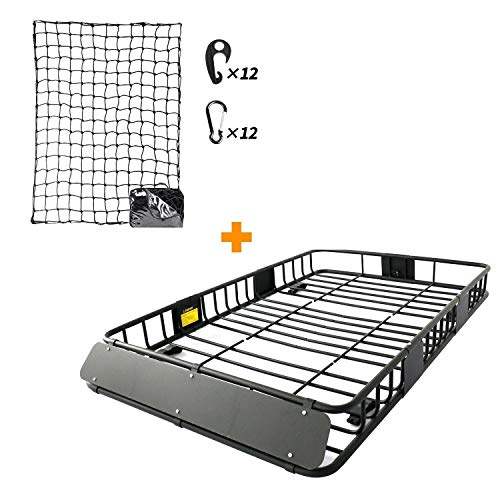 Leader Accessories Roof Rack Cargo Basket Set, Car Top Luggage Holder 64'x 39'x 6' + 3' x 4' Super Duty Bungee Cargo Net Stretches to 6' x 8'