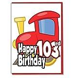 Biglietto di auguri per 10° compleanno con trenino giocattolo per uomini, figlio, nipote, papà, fratello, marito, fidanzato, amico