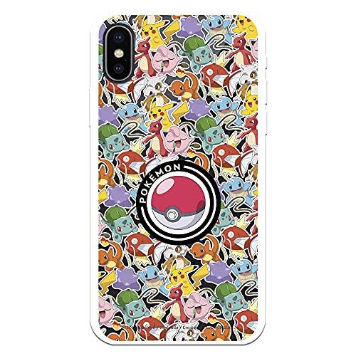 Funda para iPhone X - XS Oficial de Pokémon Patrón Sticker Poké Ball. Elige el diseño Que más te guste para tu iPhone X - XS