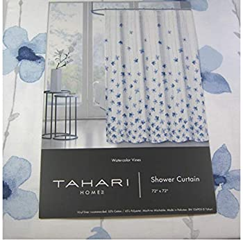 Tahari Home Floral Fabric Shower Curtain  72  x 72   Watercolor Vines Blue