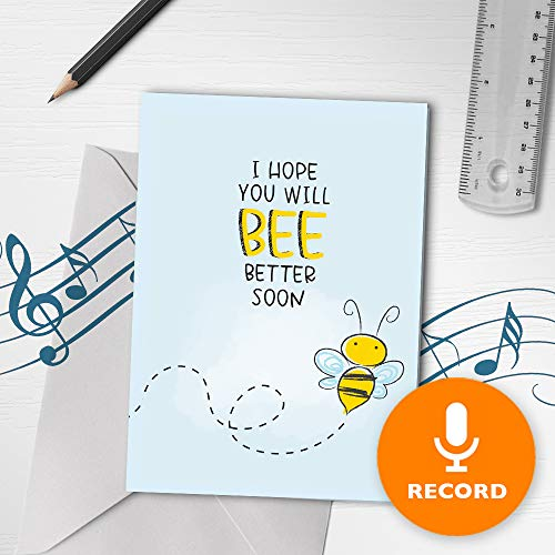 Feel Better Soon Card With Music | Get Well Singing Greeting Card, Funny Feel Better Card With Varnish Finish, Recordable Pun Cards 00099 (120sec Recordable)