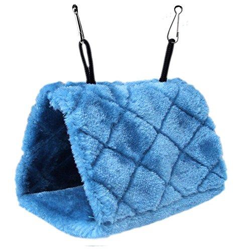 ForuMall Plush Snuggle Pájaro Hamaca para Colgar Snuggle Cueva Feliz Hut Aves Loro Hideaway (Azul)