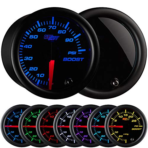 GlowShift Tinted 7 Color 100 PSI Turbo Boost Gauge Kit - Includes Mechanical Hose & Fittings - Black Dial - Smoked Lens - for Diesel Trucks - 2-1/16' 52mm