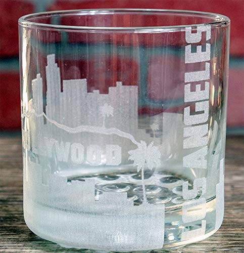 Everything Etched Whisky Glass/Custom Whisky Glass with Laser Engraving/Los Angeles Skyline Monogrammed on Glass/Barware Gifts for all occasions / 10.25 oz