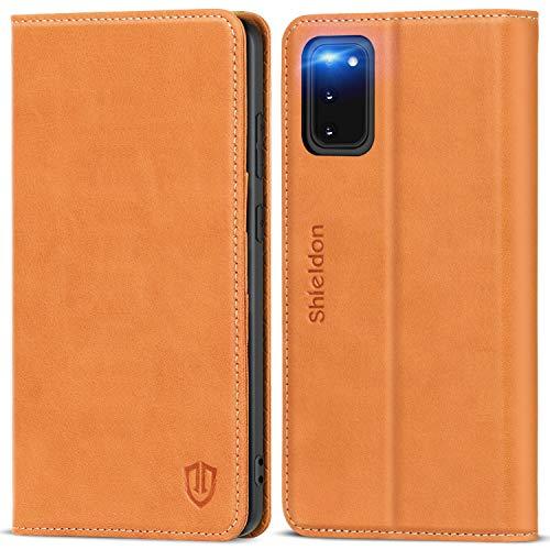 SHIELDON Hülle für Samsung Galaxy S20 5G, Stoßfeste Schutzhülle [100% Rindsleder] [RFID Blocker], TPU Magnetische Handyhülle Standfunktion Kartenfach, Lifetime Garantie, Klapphülle für 6,2 Zoll, Braun