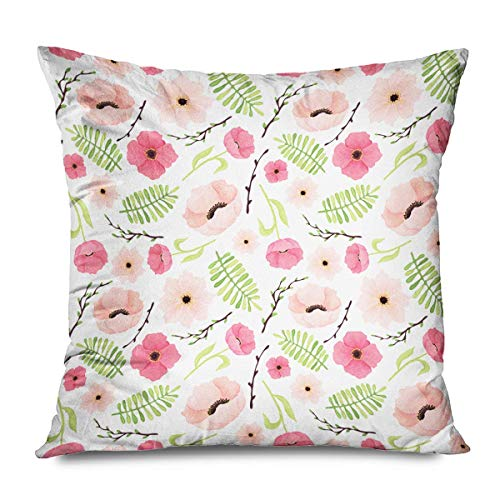 iksrgfvb Throw Pillow Cover 45x45CM Red Abstract Pink Poppies Poppy Green Leaves Nature Watercolor Branch Color Field Floral